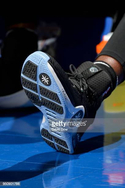Sneakers of Dwayne Wade of the Miami Heat during the game against the Philadelphia 76ers in Game Five of Round One of the 2018 NBA Playoffs on April...