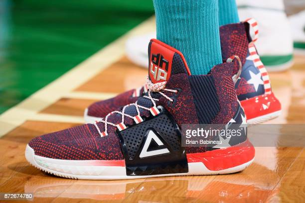 Sneakers of Dwight Howard of the Charlotte Hornets during the game against the Boston Celtics on November 10 2017 at the TD Garden in Boston...