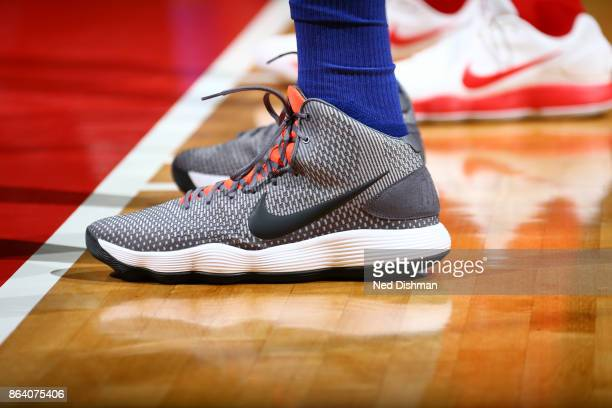 Sneakers of Eric Moreland of the Detroit Pistons during game against the Washington Wizards on October 20 2017 at Capital One Arena in Washington DC...