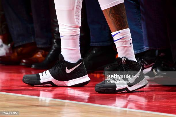 Sneakers of Eric Moreland of the Detroit Pistons during game against the Orlando Magic on December 17, 2017 at Little Caesars Arena in Detroit,...