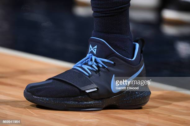 Sneakers of Gary Harris of the Denver Nuggets during the game against the Miami Heat on November 3 2017 at the Pepsi Center in Denver Colorado NOTE...