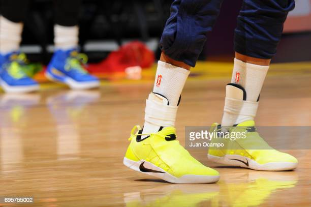 Sneakers of Glory Johnson of the Dallas Wings before the game against the Los Angeles Sparks on June 13 2017 at STAPLES Center in Los Angeles...