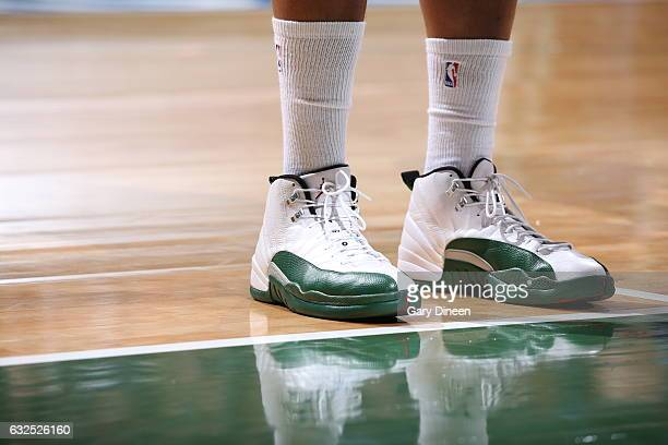 Sneakers of Jabari Parker of the Milwaukee Bucks during the game against the Houston Rockets on January 23 2017 at the BMO Harris Bradley Center in...