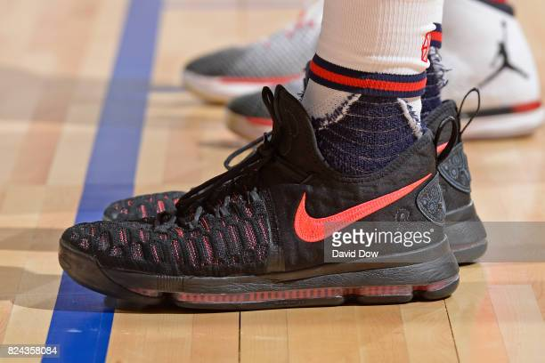 Sneakers of Jalen Jones of the New Orleans Pelicans during the game against the Atlanta Hawks on July 9 2017 at the Cox Pavilion in Las Vegas Nevada...