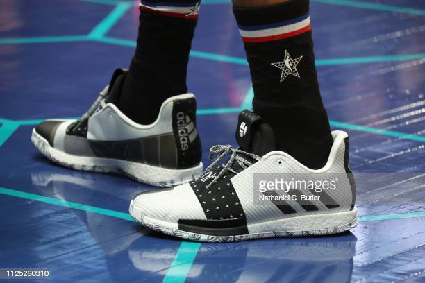 Sneakers of James Harden of Team LeBron during the 2019 NBA AllStar Practice and Media Availability on February 16 2019 at Bojangles Coliseum in...