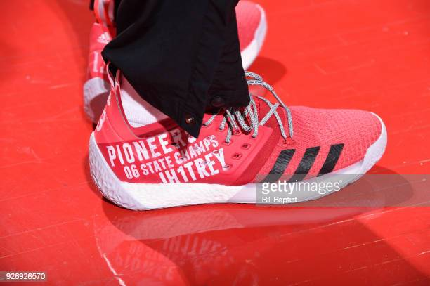 Sneakers of James Harden of the Houston Rockets during game against the Boston Celtics on March 3 2018 at the Toyota Center in Houston Texas NOTE TO...