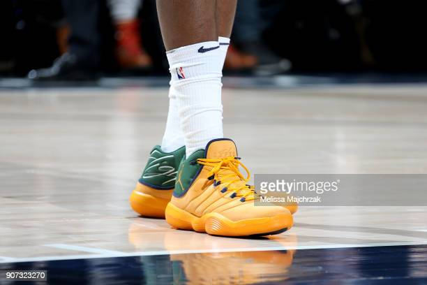 Sneakers of Joe Johnson of the Utah Jazz during the game against the New York Knicks on January 19 2018 at vivintSmartHome Arena in Salt Lake City...