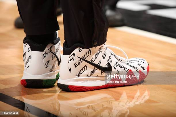 Sneakers of Jordan Mickey of the Miami Heat before the game against the Milwaukee Bucks on January 14 2018 at American Airlines Arena in Miami...