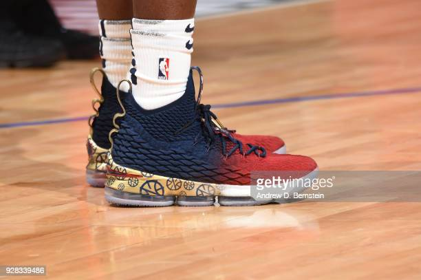 Sneakers of Jrue Holiday of the New Orleans Pelicans during game against the LA Clippers on March 6 2018 at STAPLES Center in Los Angeles California...