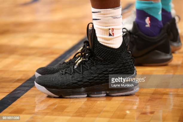 Sneakers of Jrue Holiday of the New Orleans Pelicans during the game against the Charlotte Hornets on March 13 2018 at Smoothie King Center in New...