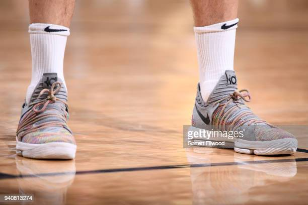 Sneakers of Juan Hernangomez of the Denver Nuggets during the game against the Milwaukee Bucks on April 1 2018 at the Pepsi Center in Denver Colorado...