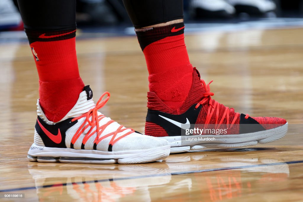 Sneakers of Jusuf Nurkic #27 of the Portland Trail Blazers during the game against the New Orleans Pelicans on January 12, 2018 at the Smoothie King Center in New Orleans, Louisiana.