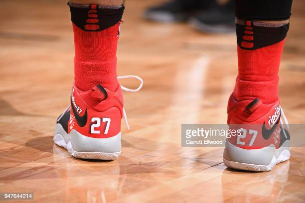 Sneakers of Jusuf Nurkic of the Portland Trail Blazers during the game against the Denver Nuggets on APRIL 9 2018 at the Pepsi Center in Denver...