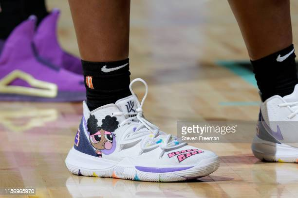 Sneakers of Kalani Brown of the Los Angeles Sparks seen during the game against the New York Liberty on July 20 2019 at the Westchester County Center...