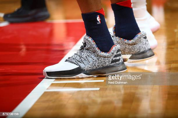 Sneakers of Kelly Oubre Jr #12 of the Washington Wizards against the Portland Trail Blazers on November 25 2017 at Capital One Arena in Washington DC...