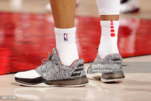 Sneakers of Kelly Oubre Jr #12 of the Washington Wizards during the game against the Portland Trail Blazers on December 5 2017 at the Moda Center in...