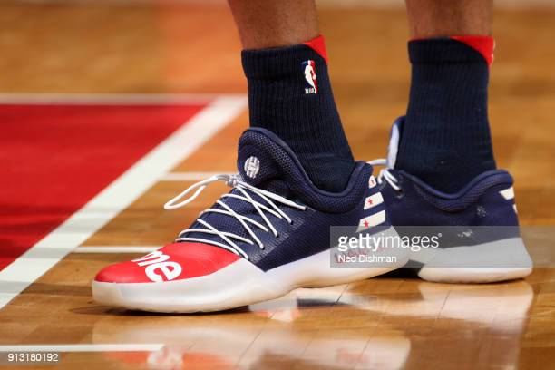 Sneakers of Kelly Oubre Jr #12 of the Washington Wizards during the game against the Toronto Raptors on February 1 2018 at Capital One Arena in...