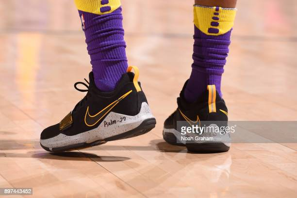 Sneakers of Kentavious CaldwellPope of the Los Angeles Lakers during the game against the Golden State Warriors on December 22 2017 at ORACLE Arena...
