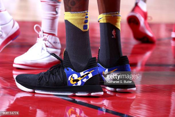 Sneakers of Kevin Durant of the Golden State Warriors during the game against the Houston Rockets on January 20 2018 at the Toyota Center in Houston...