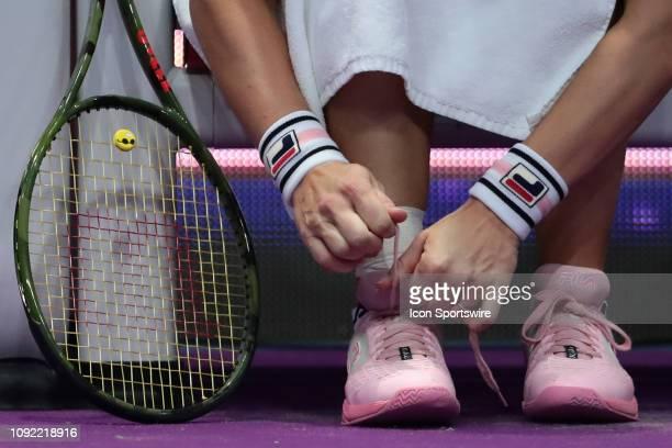 Sneakers of Kiki Bertens of Netherlands during the St Petersburg Ladies Trophy2019 tennis tournament quarter final match in StPetersburg Russia...