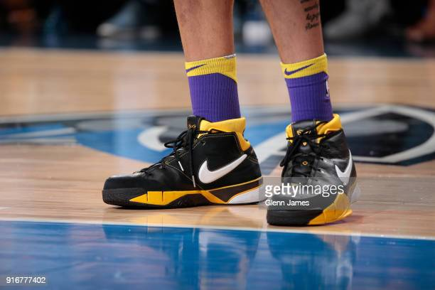 Sneakers of Kyle Kuzma of the Los Angeles Lakers during game against the Dallas Mavericks on February 10 2018 at the American Airlines Center in...