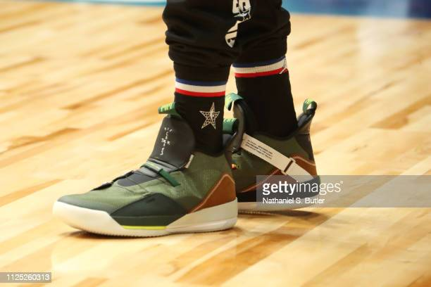 Sneakers of LaMarcus Aldridge of Team LeBron during the 2019 NBA AllStar Practice and Media Availability on February 16 2019 at Bojangles Coliseum in...