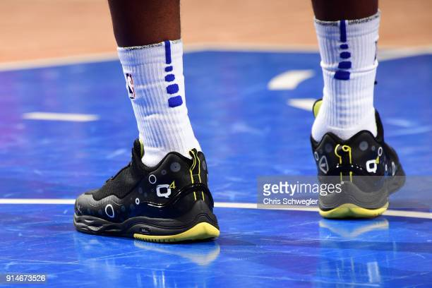 Sneakers of Langston Galloway of the Detroit Pistons during the game against the Portland Trail Blazers on February 5 2018 at Little Caesars Arena...