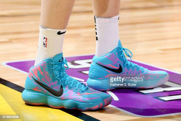 Sneakers of Lauri Markkanen of the Chicago Bulls during the Taco Bell Skills Challenge during State Farm AllStar Saturday Night as part of the 2018...