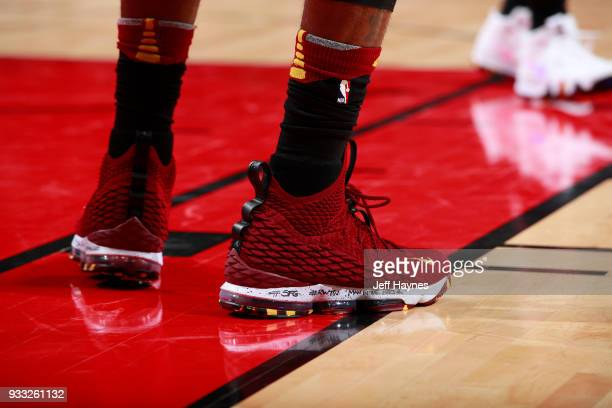 Sneakers of LeBron James of the Cleveland Cavaliers during game against the Chicago Bulls on March 17 2018 at the United Center in Chicago Illinois...