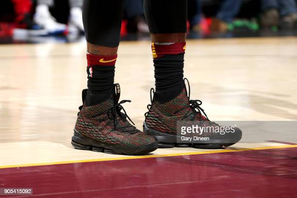 Sneakers of LeBron James of the Cleveland Cavaliers during the game against the Golden State Warriors on January 15 2018 at Quicken Loans Arena in...
