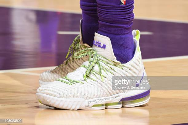Sneakers of LeBron James of the Los Angeles Lakers on February 27 2019 at STAPLES Center in Los Angeles California NOTE TO USER User expressly...