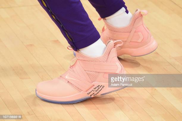 Sneakers of LeBron James of the Los Angeles Lakers seen during the game against the Miami Heat on December 10 2018 at STAPLES Center in Los Angeles...