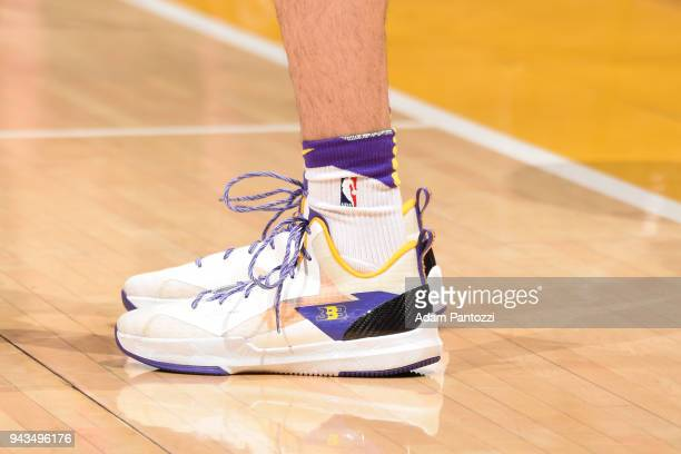 Sneakers of Lonzo Ball of the Los Angeles Lakers during the game against the Utah Jazz on April 8 2018 at STAPLES Center in Los Angeles California...