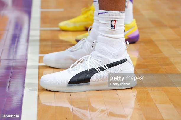 Sneakers of Marvin Bagley III of the Sacramento Kings during the 2018 Summer League at the Golden 1 Center on July 2 2018 in Sacramento California...
