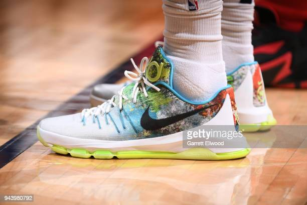 Sneakers of Mason Plumlee of the Denver Nuggets during the game against the Portland Trail Blazers on APRIL 9 2018 at the Pepsi Center in Denver...