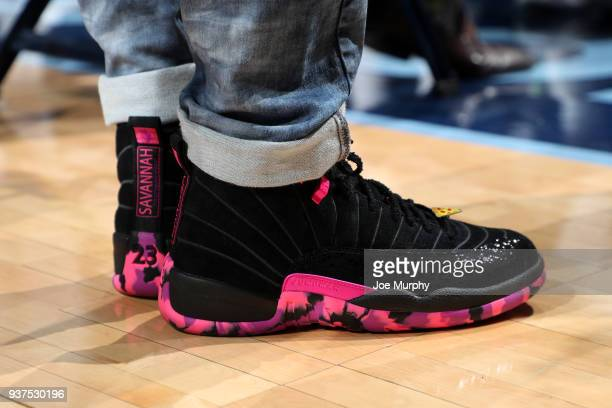 Sneakers of Mike Conley of the Memphis Grizzlies during the game against the Los Angeles Lakers on March 24 2018 at FedExForum in Memphis Tennessee...