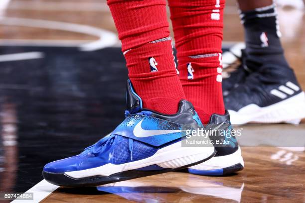 Sneakers of Mike Scott of the Washington Wizards during the game against the Brooklyn Nets on December 22 2017 at Barclays Center in Brooklyn New...