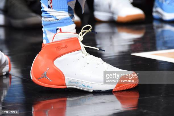 Sneakers of Montrezl Harrell of the LA Clippers during game against the New Orleans Pelicans on March 6 2018 at STAPLES Center in Los Angeles...