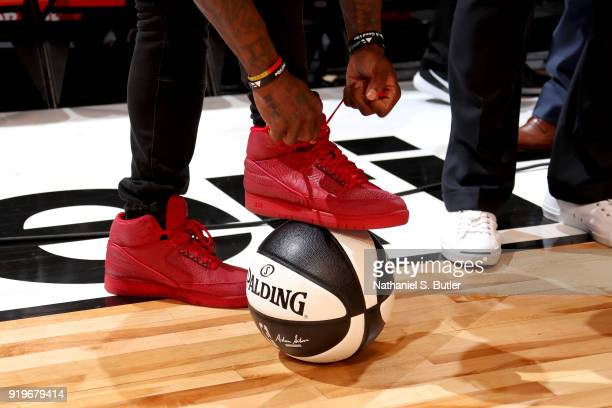 Sneakers of Nate Robinson during the Taco Bell Skills Challenge during State Farm AllStar Saturday Night as part of the 2018 NBA AllStar Weekend on...