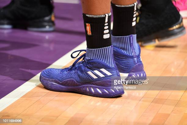 Sneakers of Nneka Ogwumike of the Los Angeles Sparks during the game against the Phoenix Mercury on August 5 2018 at The Staples Center in Los...