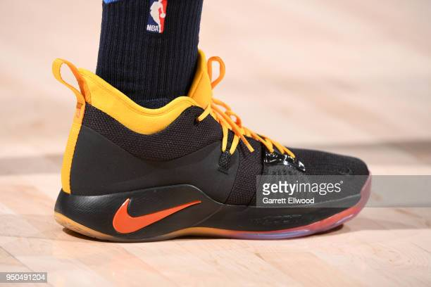 Sneakers of Paul George of the Oklahoma City Thunder before the game against the Utah Jazz in Game Four of Round One of the 2018 NBA Playoffs on...
