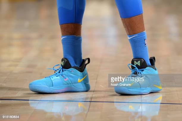 Sneakers of Paul George of the Oklahoma City Thunder during the game against the Golden State Warriors on February 6 2018 at ORACLE Arena in Oakland...