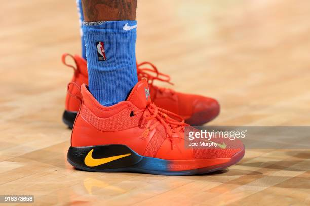 Sneakers of Paul George of the Oklahoma City Thunder during the game against the Memphis Grizzlies on February 14 2018 at FedExForum in Memphis...