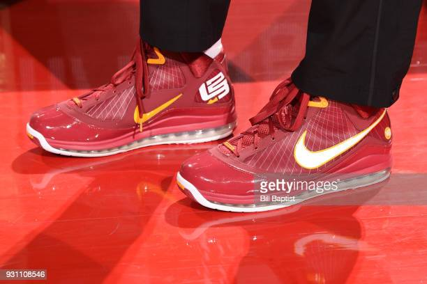 Sneakers of PJ Tucker of the Houston Rockets before the game against the San Antonio Spurs on March 12 2018 at the Toyota Center in Houston Texas...