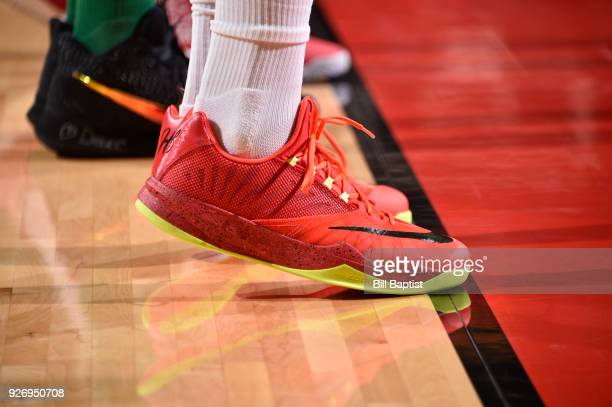 Sneakers of PJ Tucker of the Houston Rockets during game against the Boston Celtics on March 3 2018 at the Toyota Center in Houston Texas NOTE TO...