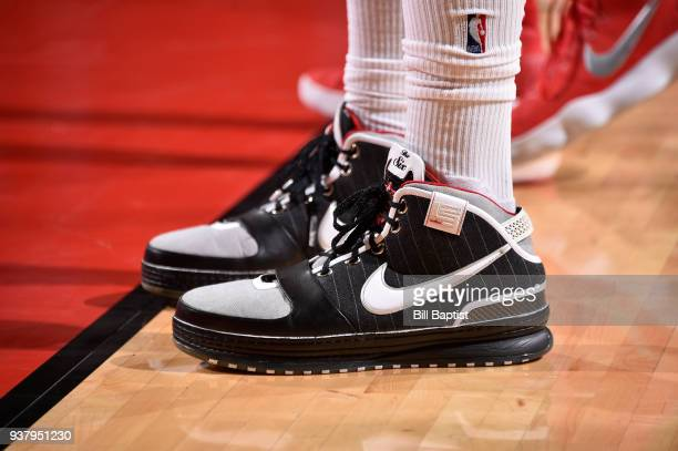 Sneakers of PJ Tucker of the Houston Rockets during game against the Atlanta Hawks on March 25 2018 at the Toyota Center in Houston Texas NOTE TO...