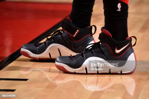 Sneakers of PJ Tucker of the Houston Rockets during the game against the Charlotte Hornets on December 13 2017 at the Toyota Center in Houston Texas...