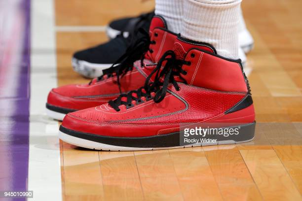 Sneakers of PJ Tucker of the Houston Rockets during the game against the Sacramento Kings on April 11 2018 at Golden 1 Center in Sacramento...