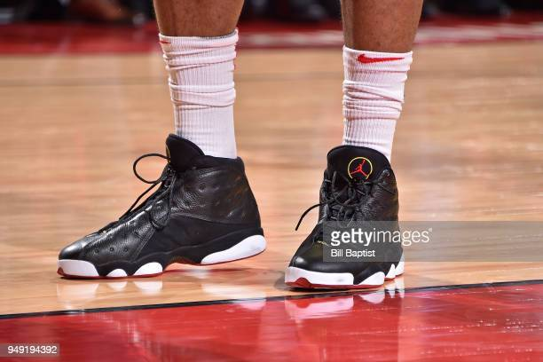58a0d8c5ee8 Sneakers of PJ Tucker of the Houston Rockets during the game against the  Minnesota Timberwolves during