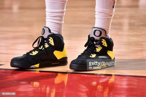 Sneakers of PJ Tucker of the Houston Rockets during the game against the Utah Jazz on Game Two of Round Two of the 2018 NBA Playoffs on May 2 2018 at...